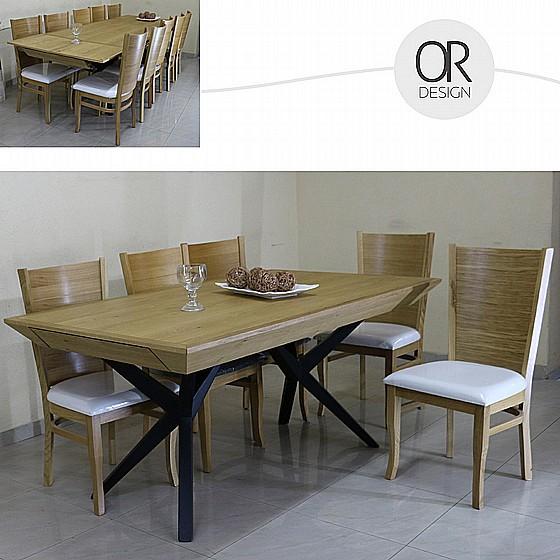 ניס מערכת פינת אוכל מעץ מלא הניתנת להארכה עד 4 מטר וכוללת 6 כסאות UR-21